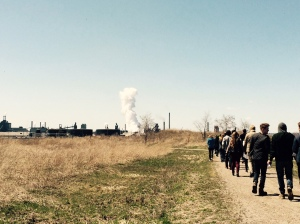 Walking with Lynda Lukasic of Environment Hamilton to learn of the city's challenges with industry and the changes underway in Windermere Basin