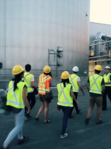 Safety first! Walking through the site.